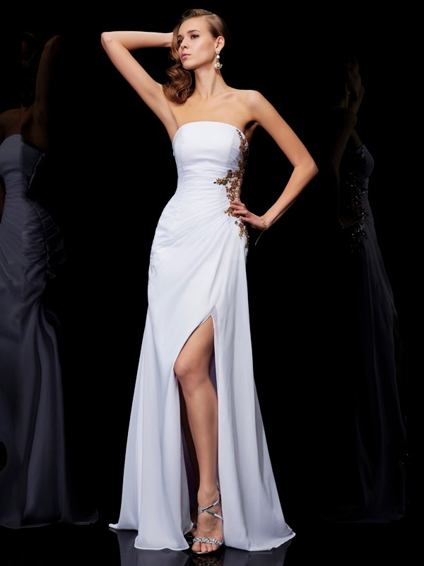 Sheath/Column Strapless Sleeveless Ruffles Long Chiffon Dresses