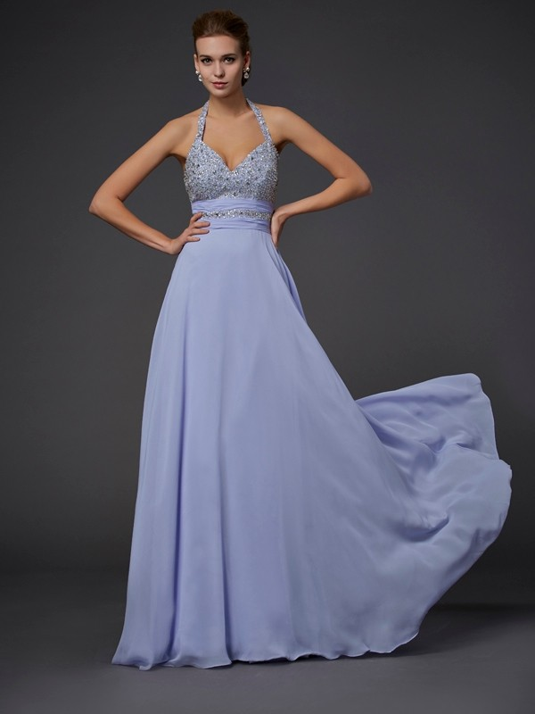A-Line/Princess Halter Sleeveless Beading Chiffon Long Dresses