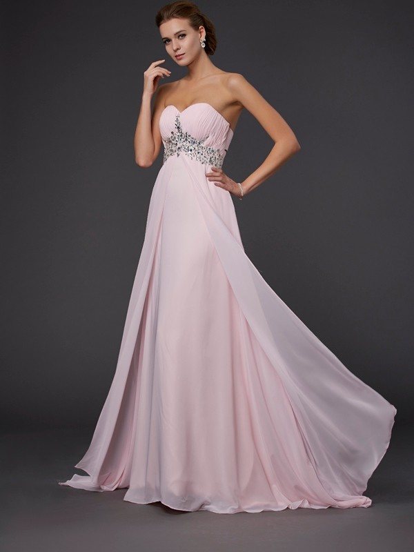 A-Line/Princess Sweetheart Long Sleeveless Beading Chiffon Dresses