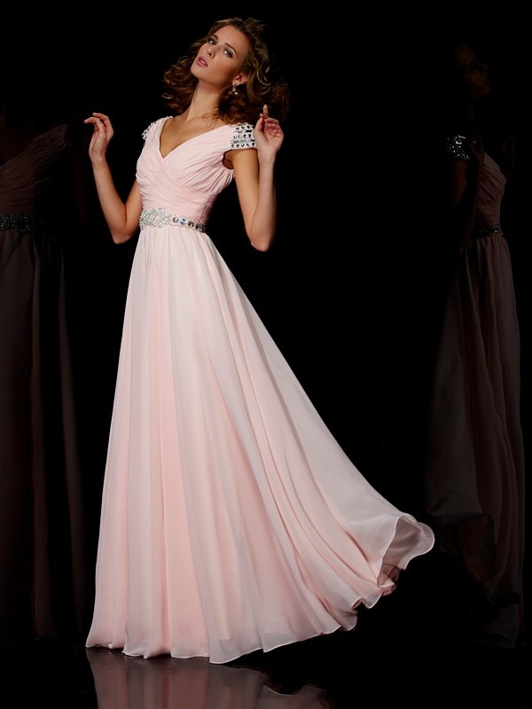 A-Line/Princess V-neck Short Sleeves Ruffles Long Chiffon Dresses