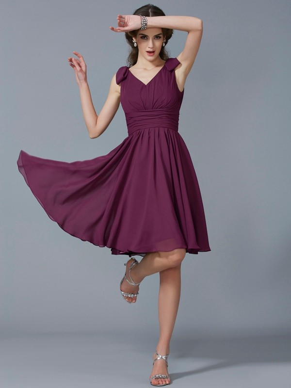 A-Line/Princess Straps Sleeveless Pleats Short Chiffon Bridesmaid Dresses
