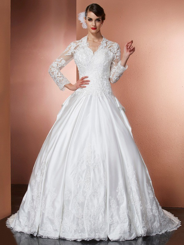 A-Line/Princess V-neck Long Sleeves Applique Long Satin Wedding Dresses