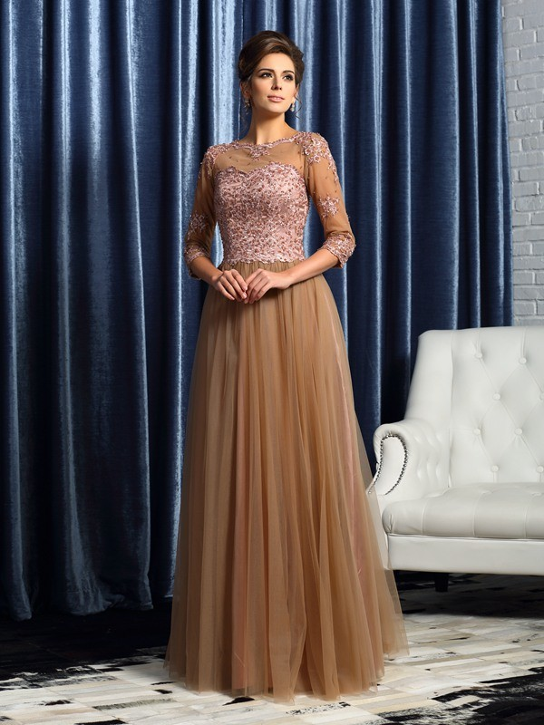 A-Line/Princess Scoop 3/4 Sleeves Long Elastic Woven Satin Mother of the Bride Dresses