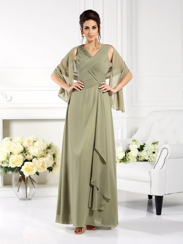 A-Line/Princess V-neck Pleats Sleeveless Long Chiffon Mother of the Bride Dresses