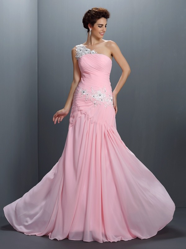 A-Line/Princess One-Shoulder Beading Sleeveless Applique Long Chiffon Dresses