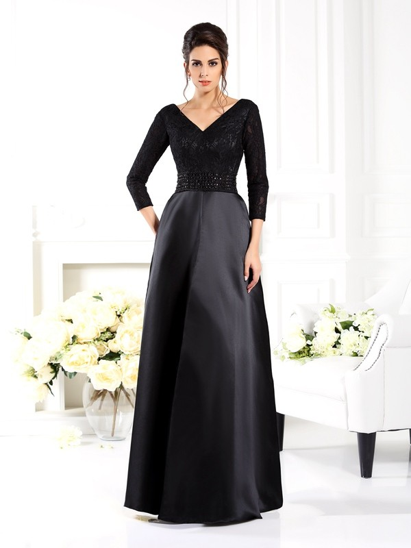 A-Line/Princess V-neck Beading 3/4 Sleeves Long Satin Mother of the Bride Dresses