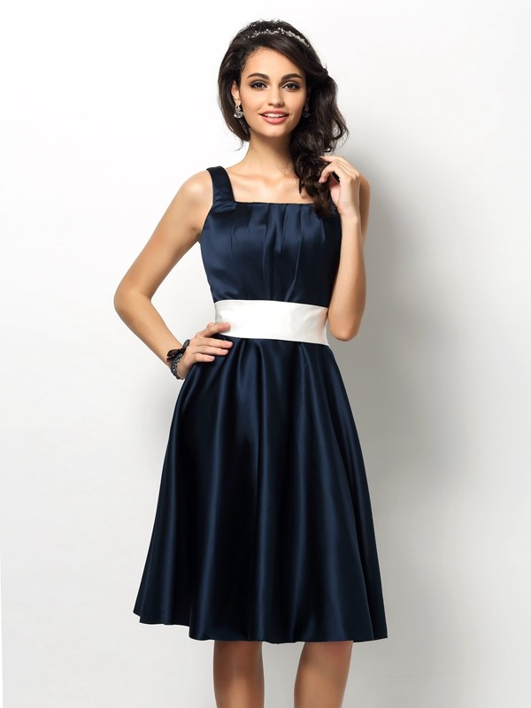 Sheath/Column Square Sash/Ribbon/Belt Sleeveless Short Satin Bridesmaid Dresses