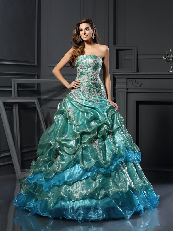 Ball Gown Sweetheart Applique Sleeveless Long Tulle Quinceanera Dresses