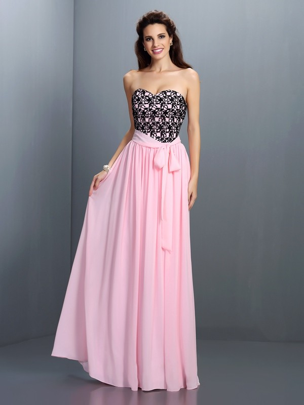 A-Line/Princess Sweetheart Lace Sleeveless Long Chiffon Dresses