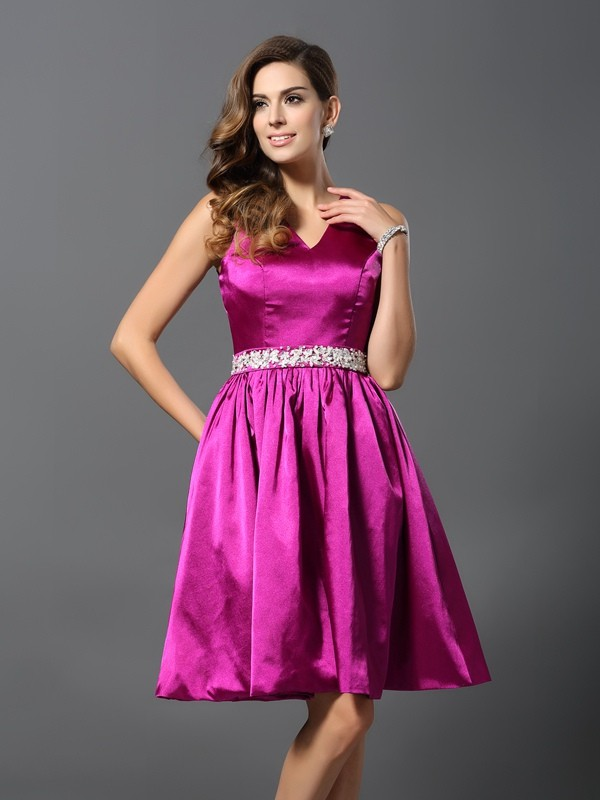 A-Line/Princess Straps Beading Sleeveless Short Elastic Woven Satin Bridesmaid Dresses