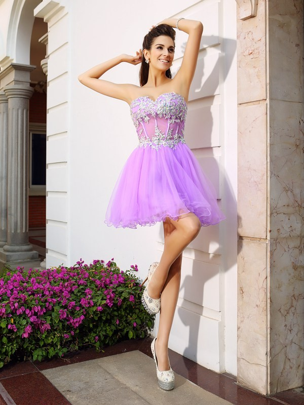 A-Line/Princess Sweetheart Beading Applique Sleeveless Short Organza Cocktail Dresses