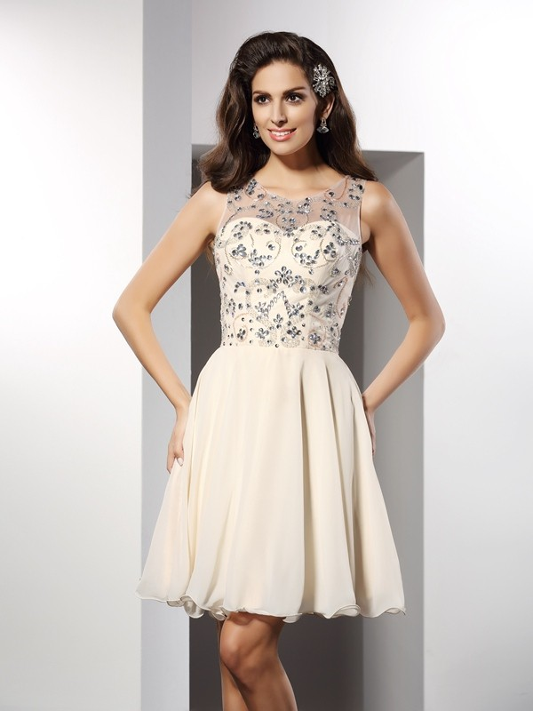 A-Line/Princess Bateau Beading Sleeveless Short Chiffon Cocktail Dresses