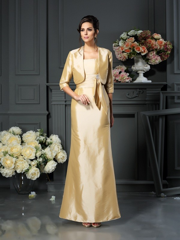 Sheath/Column Straps Bowknot Sleeveless Long Taffeta Mother of the Bride Dresses