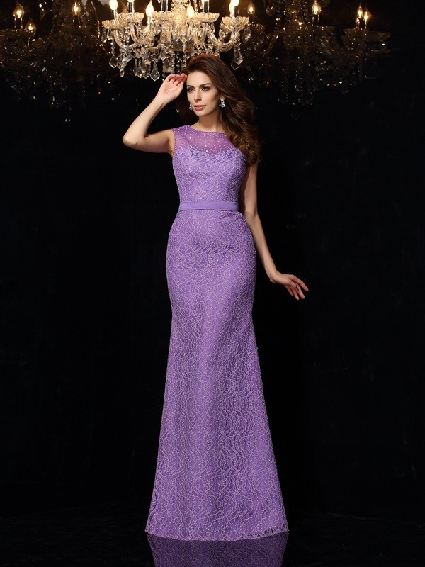 Sheath/Column Scoop Lace Sleeveless Long Satin Dresses