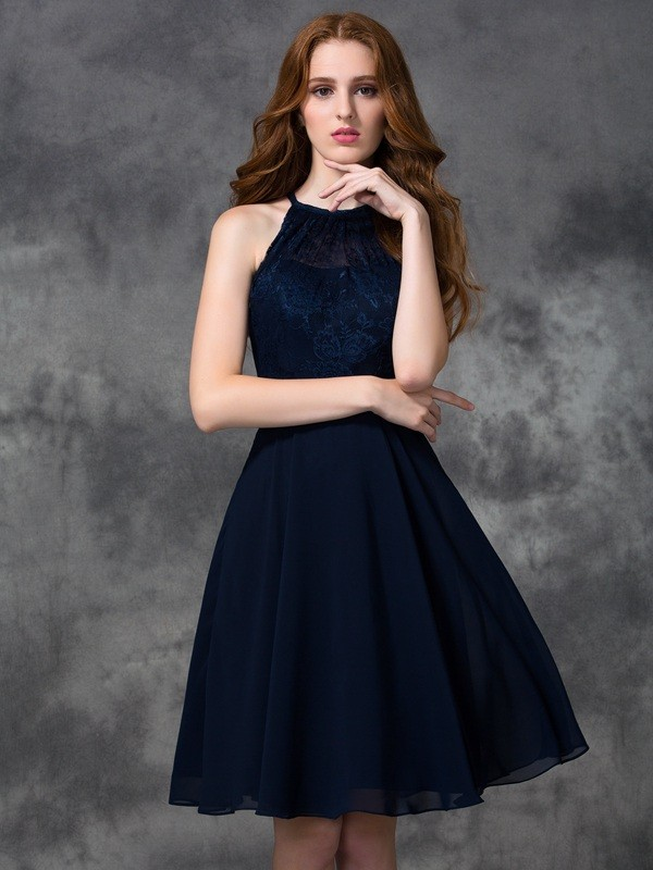 A-line/Princess Halter Lace Sleeveless Short Chiffon Bridesmaid Dresses
