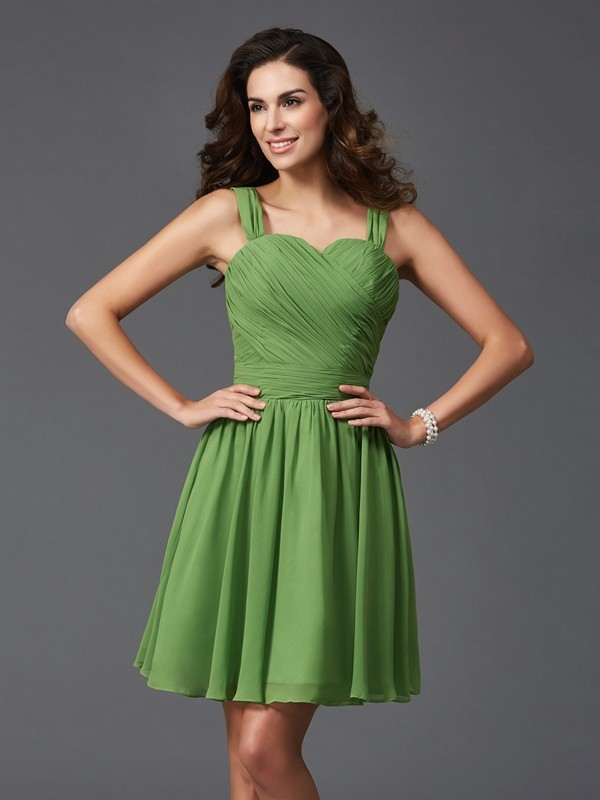 A-Line/Princess Straps Ruffles Sleeveless Short Silk like Satin Bridesmaid Dresses