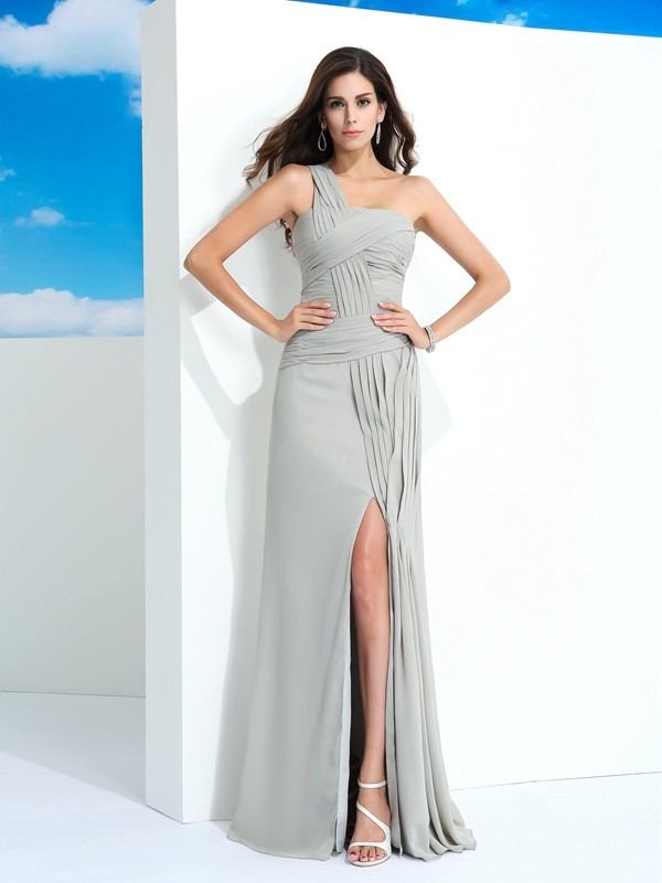 Sheath/Column One-Shoulder Pleats Sleeveless Long Chiffon Dresses