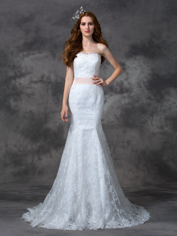 Trumpet/Mermaid Strapless Sash/Ribbon/Belt Sleeveless Long Lace Wedding Dresses