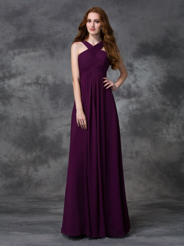 A-line/Princess Straps Ruched Sleeveless Long Chiffon Bridesmaid Dresses