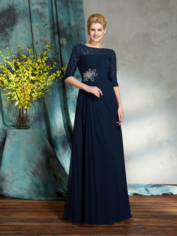 A-Line/Princess Bateau Beading 1/2 Sleeves Long Chiffon Mother of the Bride Dresses