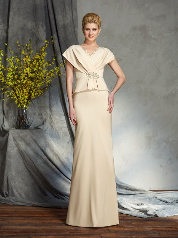 Sheath/Column V-neck Beading Short Sleeves Long Silk like Satin Mother of the Bride Dresses