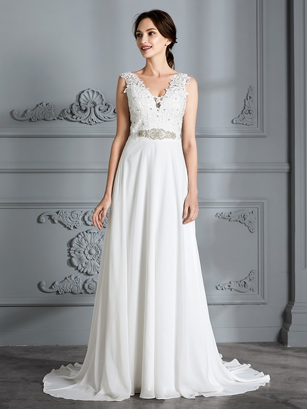 A-Line Sleeveless V-neck Sweep/Brush Train Chiffon Wedding Dresses