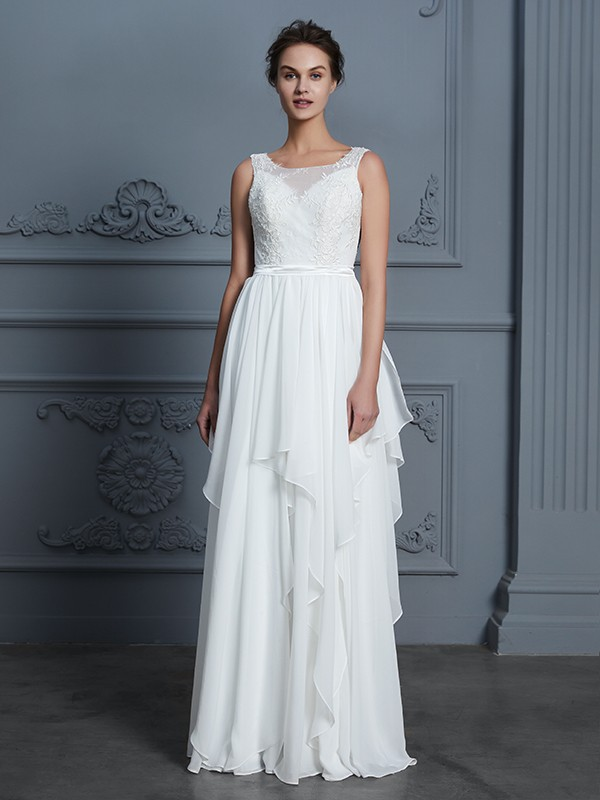 A-Line Scoop Sleeveless Floor-Length Chiffon Wedding Dress