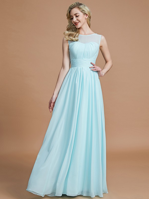 A-Line Scoop Sleeveless Floor-Length Chiffon Bridesmaid Dresses