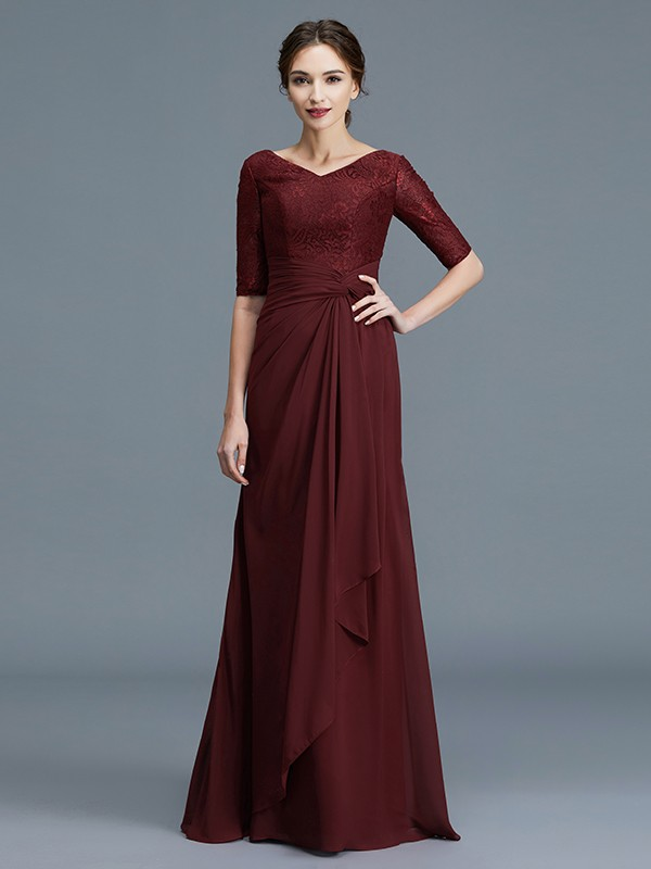 A-Line/Princess V-neck 1/2 Sleeves Ruffles Chiffon Floor-Length Mother of the Bride Dresses
