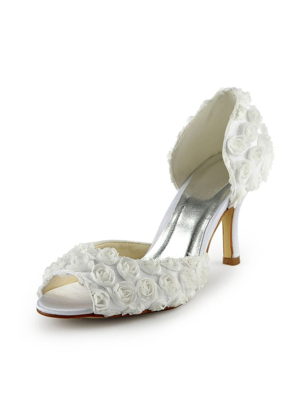 Women's Gorgeous Satin Stiletto Heel Peep Toe With Flowers White Wedding Shoes