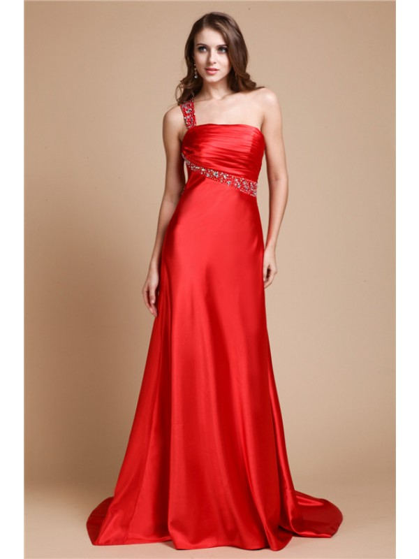 A-Line/Princess One Shoulder Beading Sleeveless Long Elastic Woven Satin Dresses