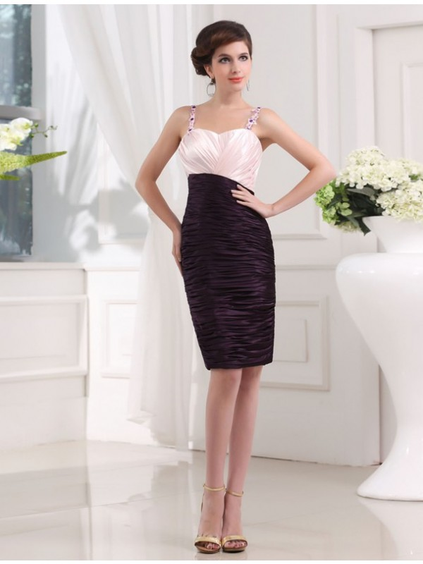 Sheath/Column Beading Sleeveless Straps Applique Elastic Woven Satin Bridesmaid Dresses