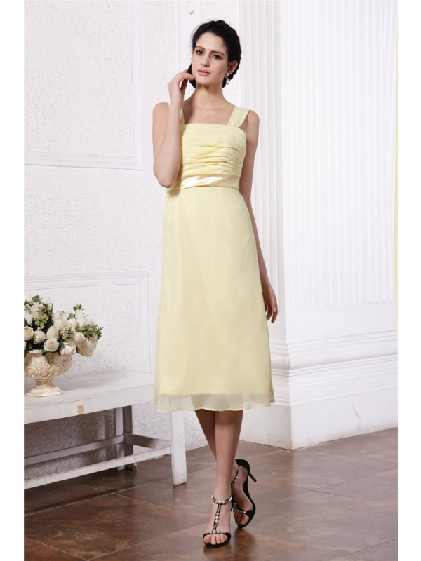 Sheath/Column Straps Sleeveless Sash Pleats Short Chiffon Bridesmaid Dresses