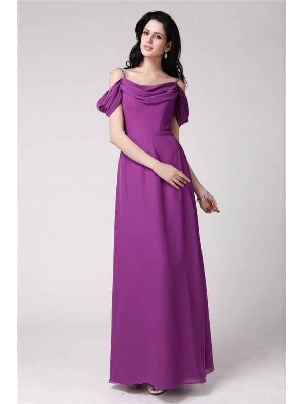 Sheath/Column Sleeveless Pleats Spaghetti Straps Long Chiffon Bridesmaid Dresses