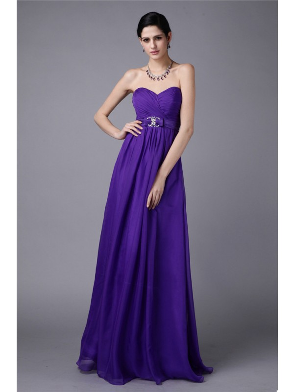 A-Line/Princess Sweetheart Sleeveless Beading Pleats Long Chiffon Bridesmaid Dresses