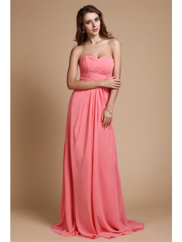 A-Line/Princess Sweetheart Sleeveless Ruffles Chiffon Long Bridesmaid Dresses
