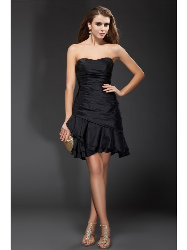 A-Line/Princess Strapless Ruffles Sleeveless Short Taffeta Cocktail Dresses