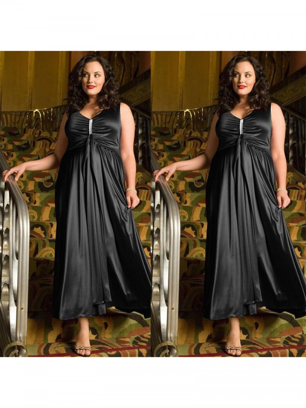 A-Line V-neck Sleeveless Beading Ankle-Length Elastic Woven Satin Plus Size Dresses