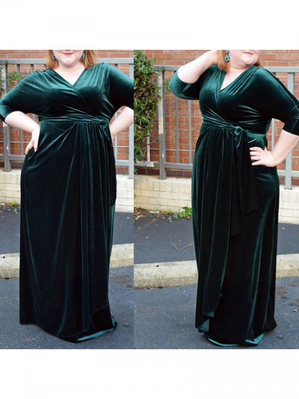 Sheath V-neck 1/2 Sleeves Ruched Floor-Length Velvet Plus Size Dresses