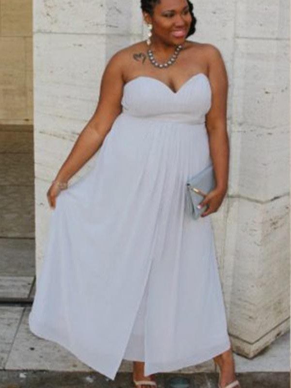 A-Line Sweetheart Sleeveless Ruched Ankle-Length Chiffon Plus Size Dresses