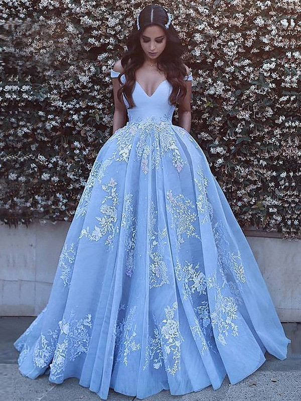 Ball Gown Sleeveless Off-the-Shoulder Applique Tulle Sweep/Brush Train Dresses