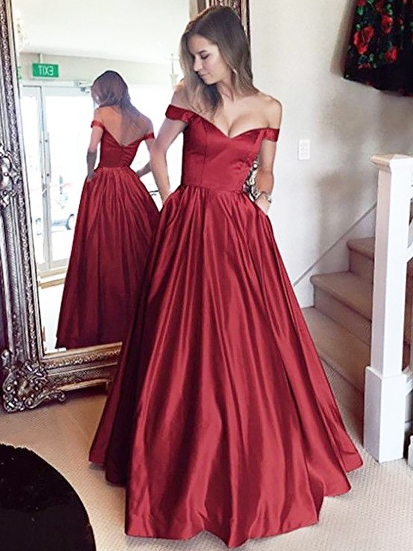 A-Line Off-the-Shoulder Sleeveless Floor-Length Satin Beading Dresses