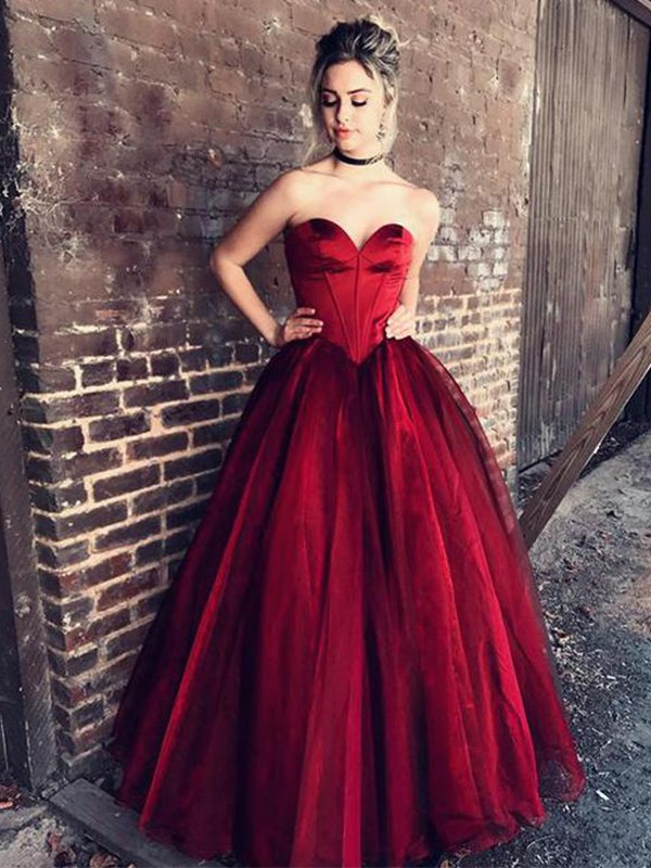 Ball Gown Sweetheart Sleeveless Floor-Length Ruffles Tulle Dresses