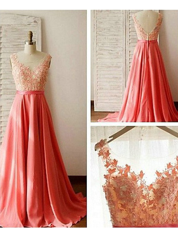 A-Line/Princess Sleeveless Sweetheart Floor-Length Lace Chiffon Bridesmaid Dresses