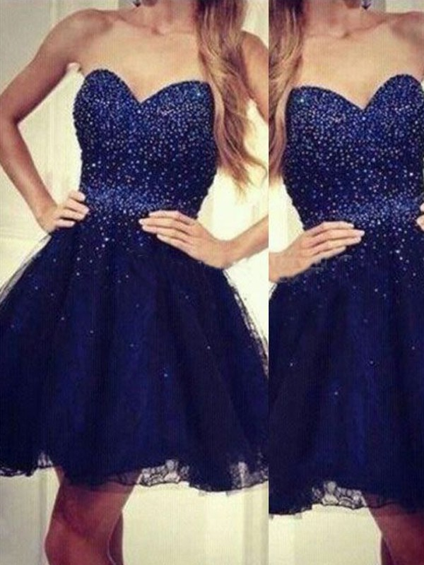 A-Line/Princess Sweetheart Sleeveless Beading Short/Mini Tulle Dresses