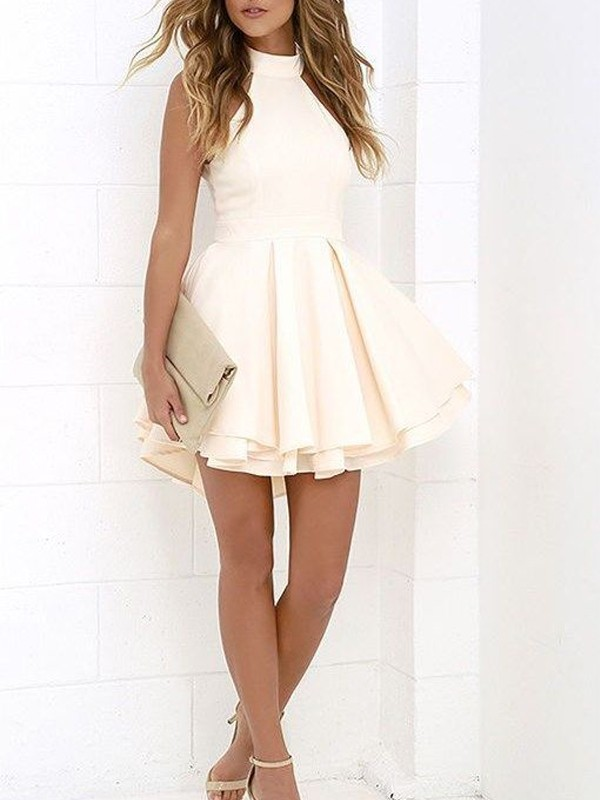 A-Line/Princess Sleeveless Halter Satin Short/Mini Dresses