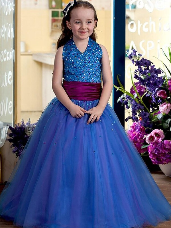 Ball Gown Halter Sleeveless Floor-Length Sequins Tulle Flower Girl Dresses