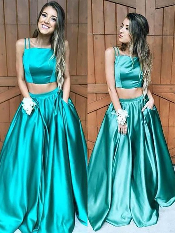 A-Line Sleeveless Square Floor-Length Ruffles Satin Two Piece Dresses