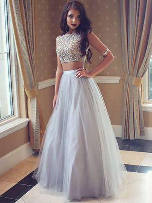 A-Line Bateau Sleeveless Tulle Floor-Length Beading Two Piece Dresses