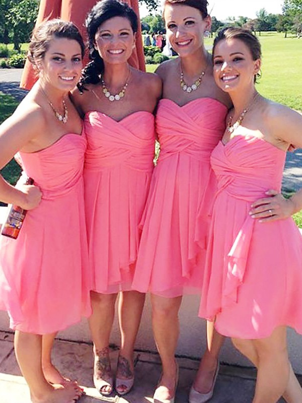 A-Line Sleeveless Short/Mini Sweetheart Chiffon Bridesmaid Dresses